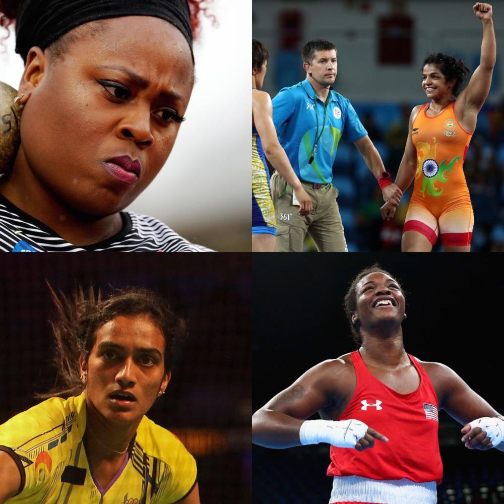 From Jezebel, Clockwise: Michelle Carter, Sakshi Malik, PV Sindhu, Claressa Sheilds.