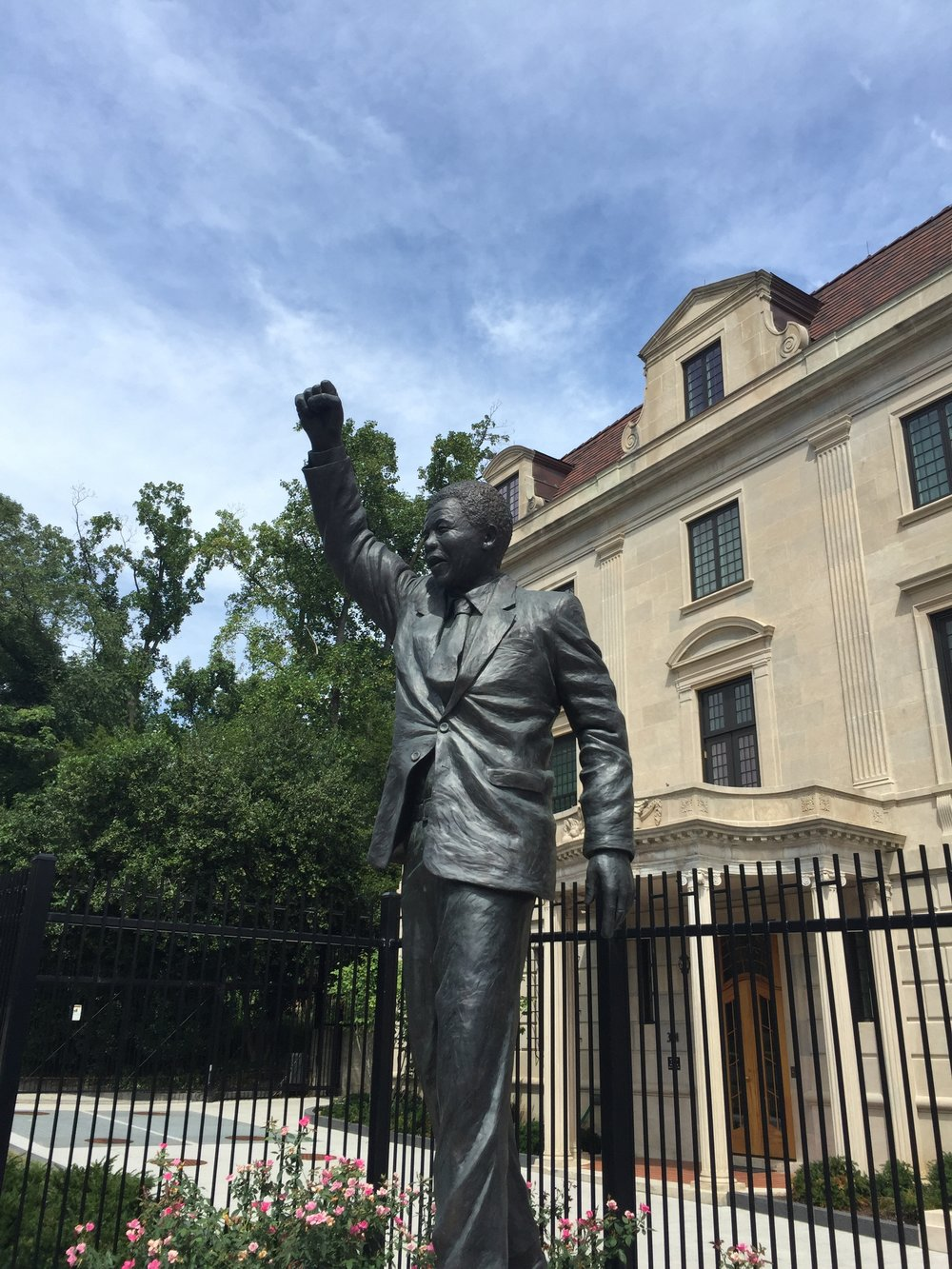 Nelson Mandela statue in front of the South African Embassy in Washington, DC.