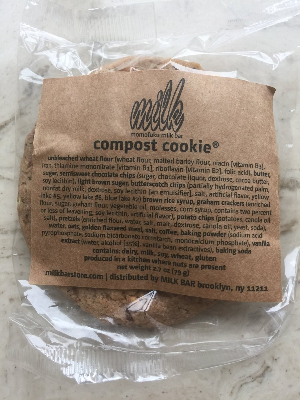 Milk Bar's   Compost Cookie  : Probably 7 million calories, but I don't know because I ordered it online and chose not to even look.  Also, because Momofuku's Milk Bar has fewer than 20 locations, they are exempt from New York City's calorie posting laws.