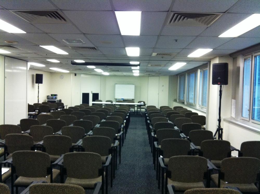 Dual speaker system with roving microphones set up for a Q&A forum for a Queensland Government department.