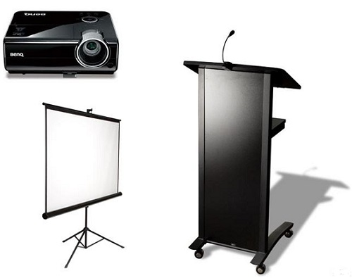 Data projector, screen and lectern.jpg