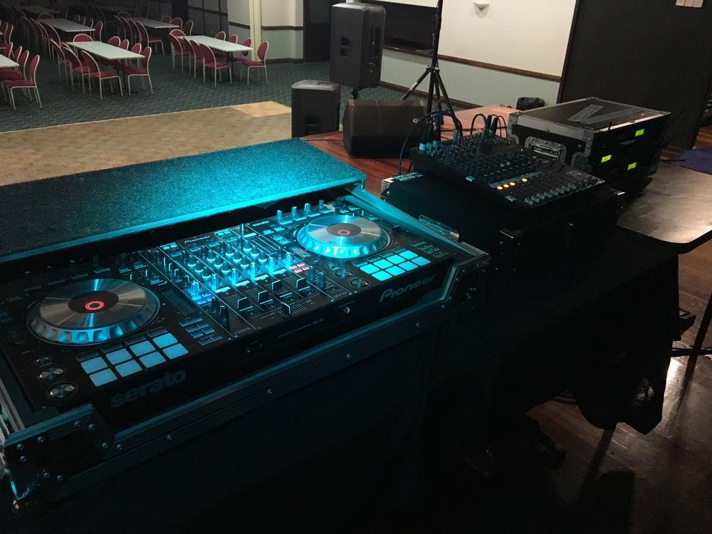 Pro DJ system set up at Acacia Ridge