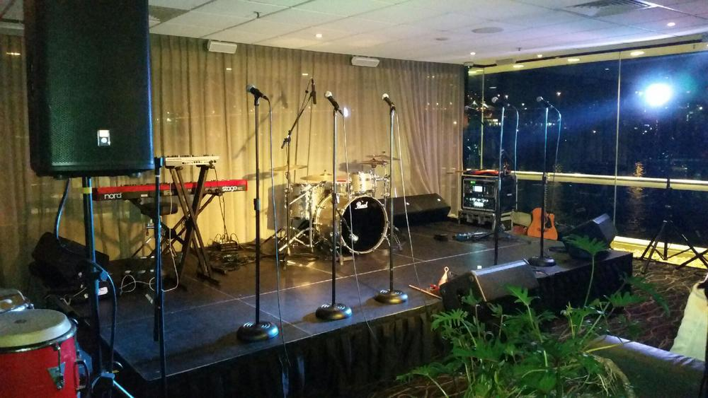 Copy of Band set up for corporate function at Fridays, Brisbane