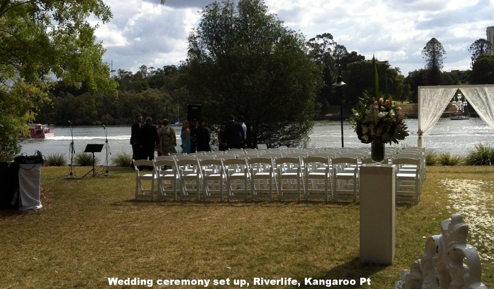 Wedding ceremony with battery-operated PA at RiverLife, Kangaroo Point, Brisbane