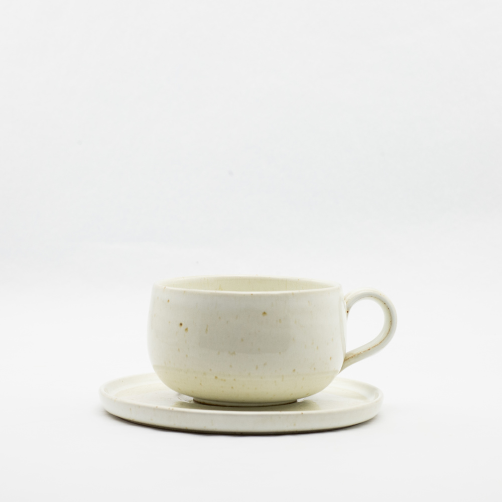 French Ceramic Ivory Cup & Saucer £20.00