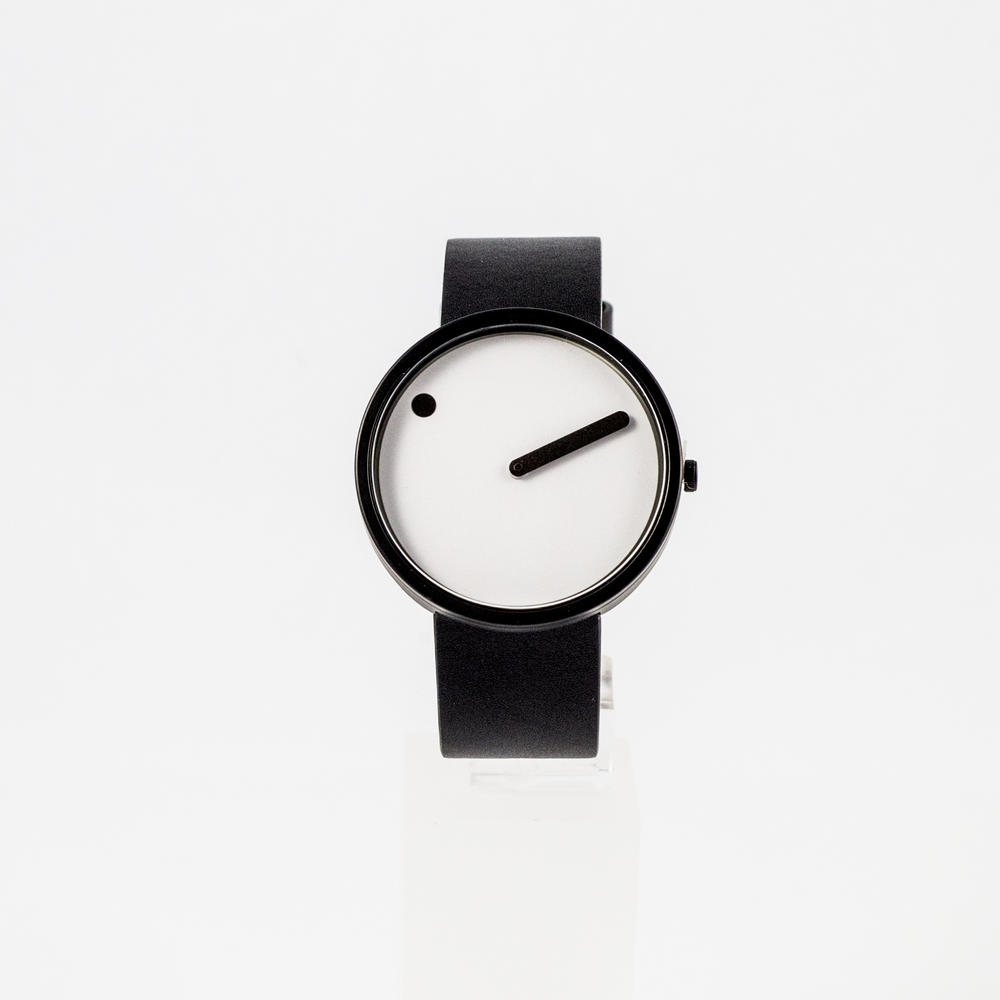 Picto Watch Black & White with Leather Strap £125.00