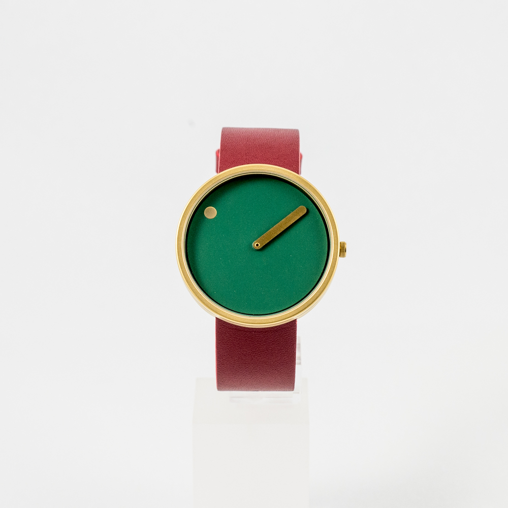 Picto Watch Dusty Green & Red Leather Strap £125.00