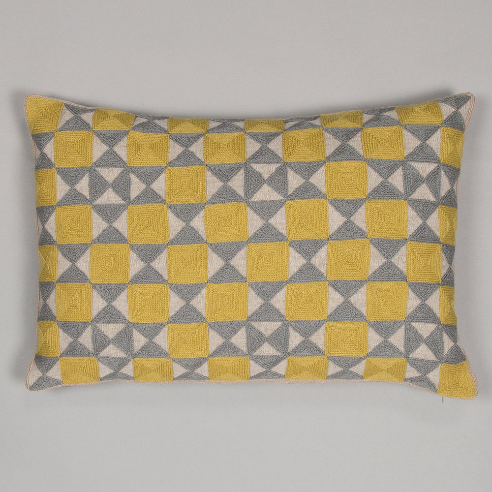 Chartreuse & Grey Zellji cushion  £95.00