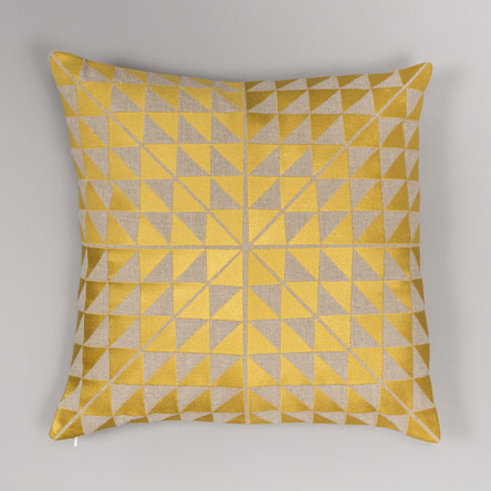 Yellow & Grey Triangles Cushion  £96
