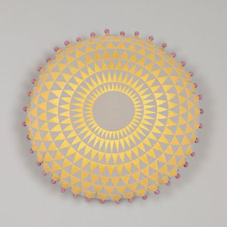 Yellow & Grey Circular Cushion  £95