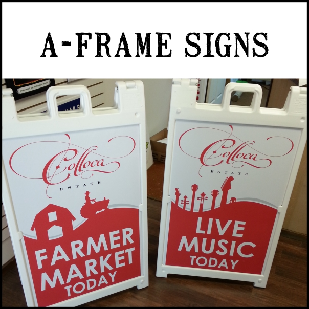 Quick change no tools required A-Frames. Available complete or separate as just panels or frames. Frames colors: White, Black or Yellow. Panels: Full color.