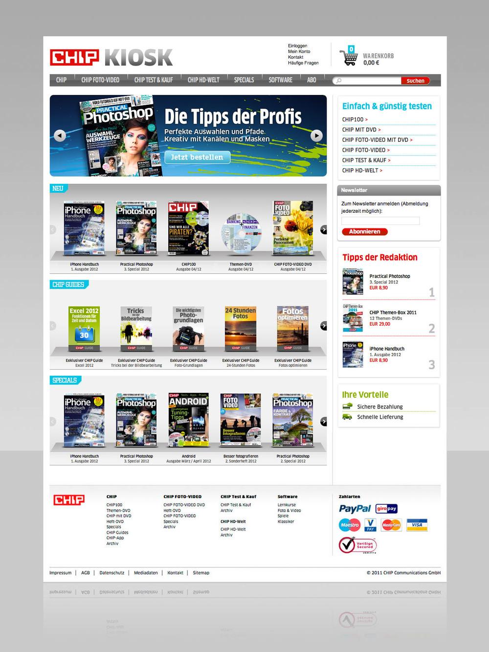 Homepage. Produktwerbung im Slider oben.