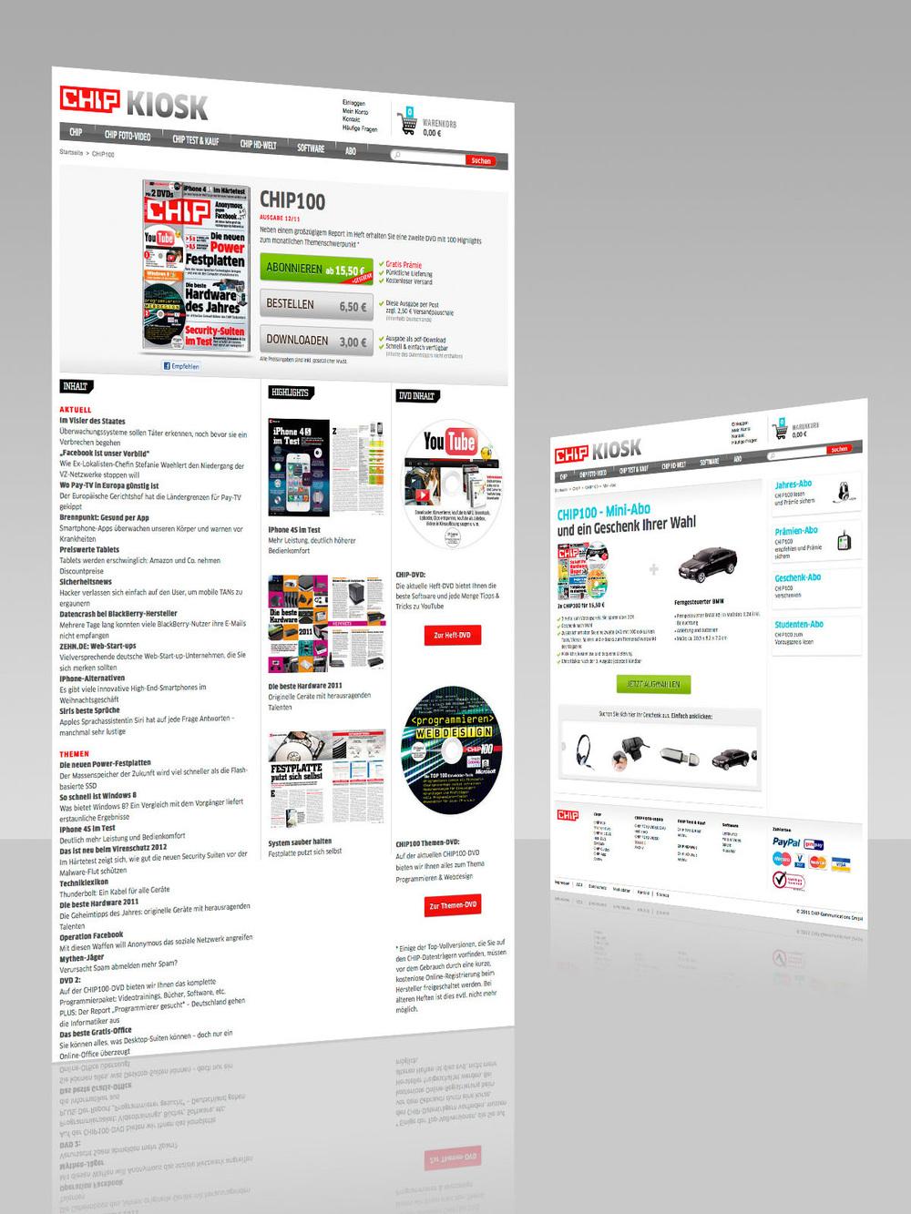 Abonnement: Produktinfo und Bestellseite.