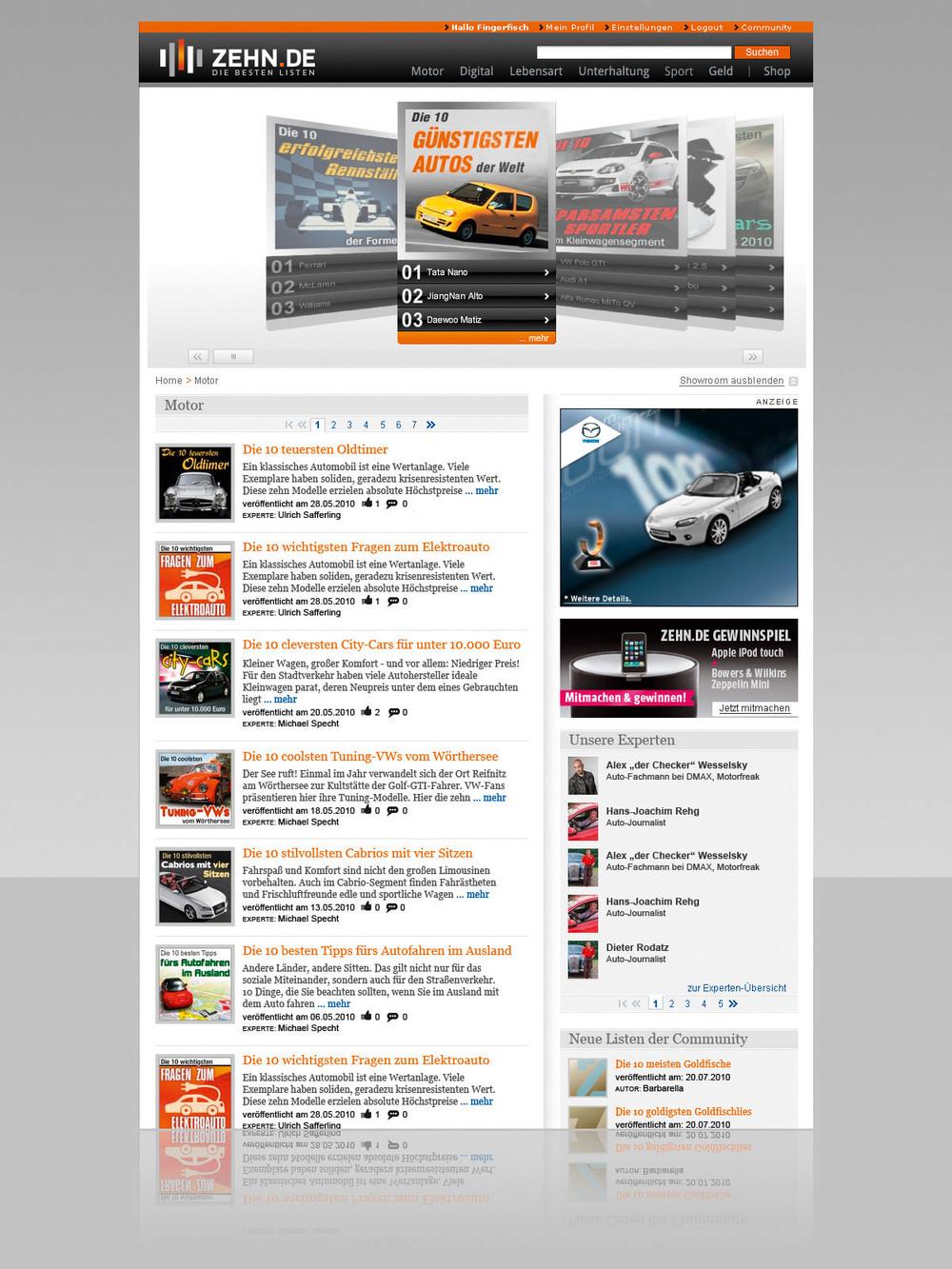 Zehn.de Home (Relaunch),  www.zehn.de