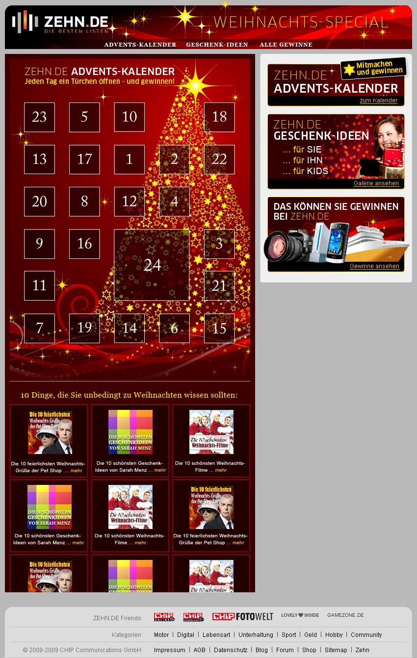 Zehn.de Weihnachts-Gewinnspiel, Header, Banner, Kalender