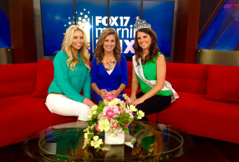 Danielle Kokx, the 2014 Asparagus Queen (and candidate Courtney Kokx's sister), and Gina Ferweda (left), a resort owner and food blogger, on Fox 17 Morning Mix.