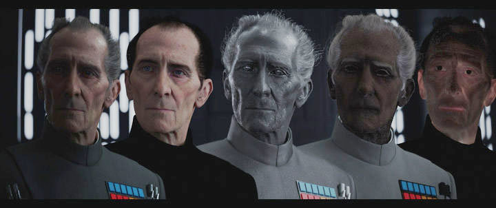 """Heavy VFX were used in """"Rogue One: A Star Wars Story"""" to bring back the character Grand Moff Tarkin.Credit: Industrial Light & Magic/Lucasfilm"""