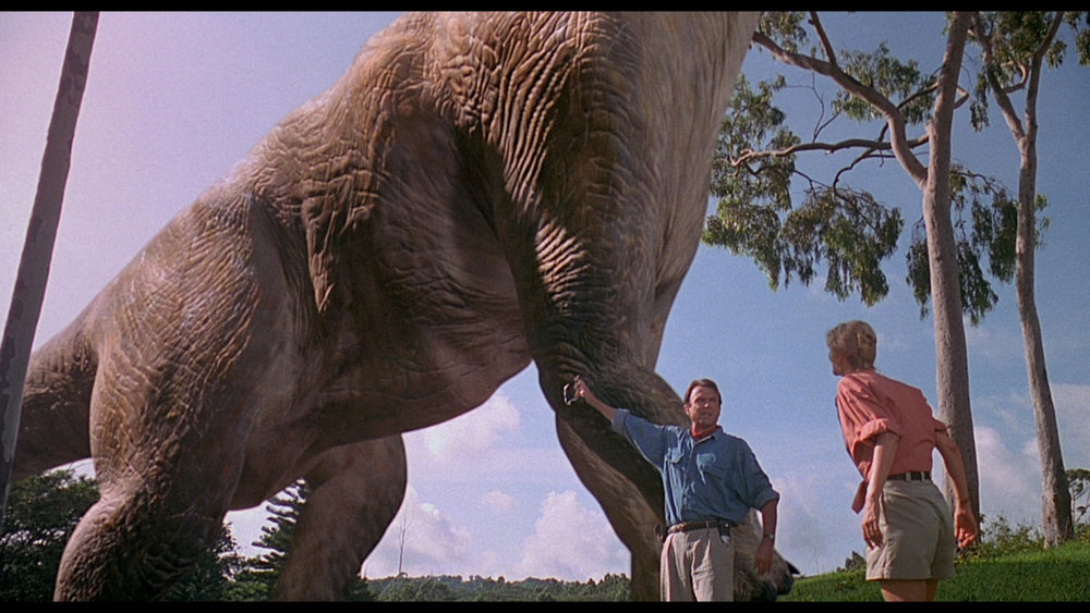 A still from Jurassic Park of a majestic creature.