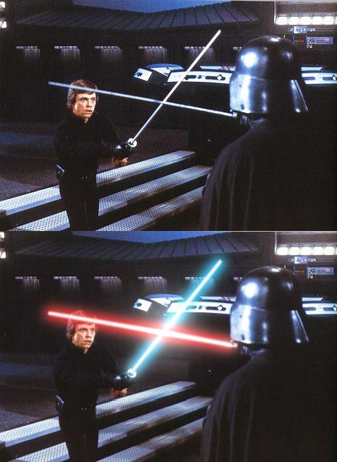 Before and After of Lightsaber effect