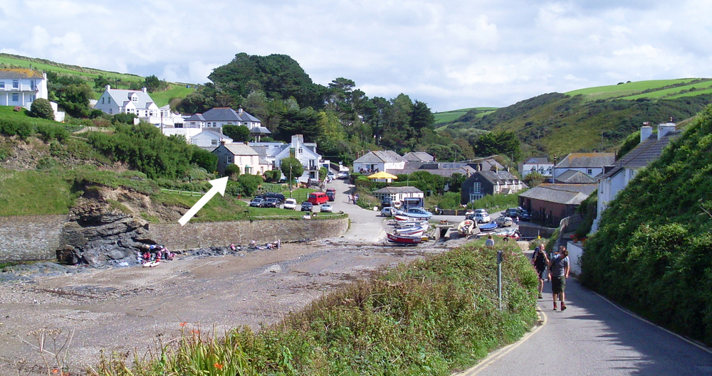 Here's Port Gaverne. The Pink Cottage is   by the arrow, right by the beach.