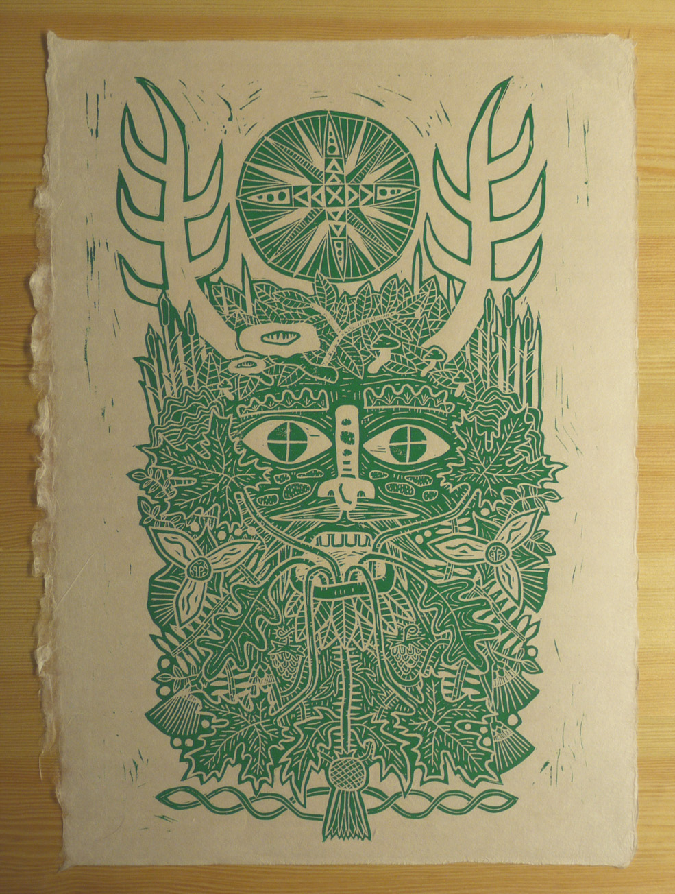 Green Man - lino print - small.jpg