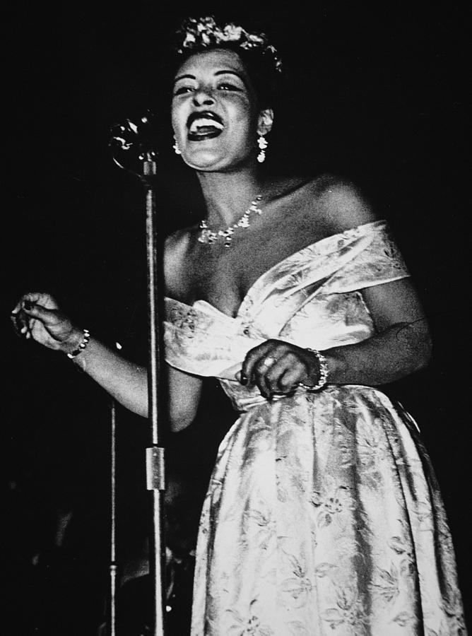 Billie Holiday performing in 1949. It could not have been easy for her to compose and perform in a male-dominated industry, but she managed to become one of the most influential musicians in American history.