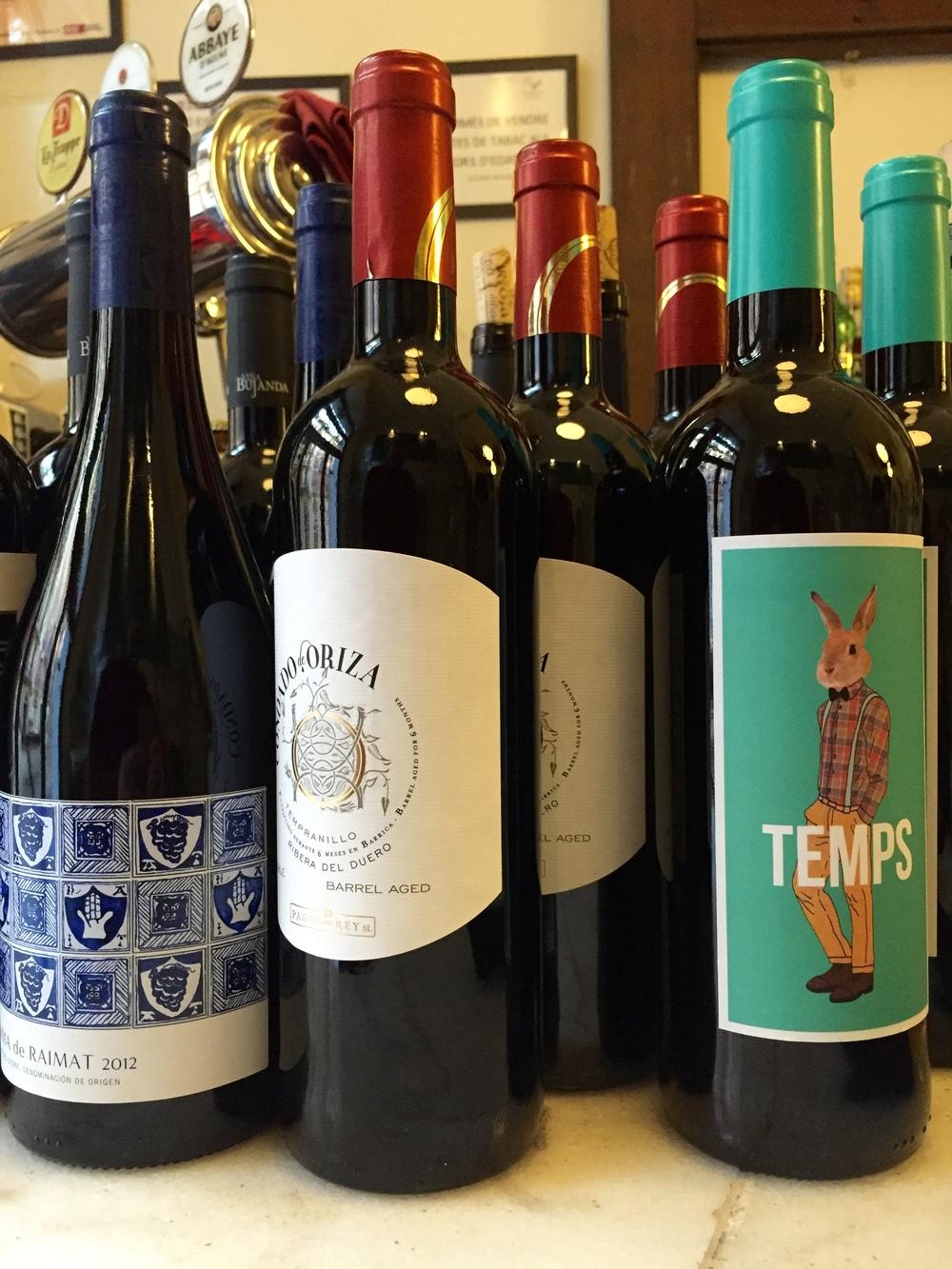 Wine bottles at El 58