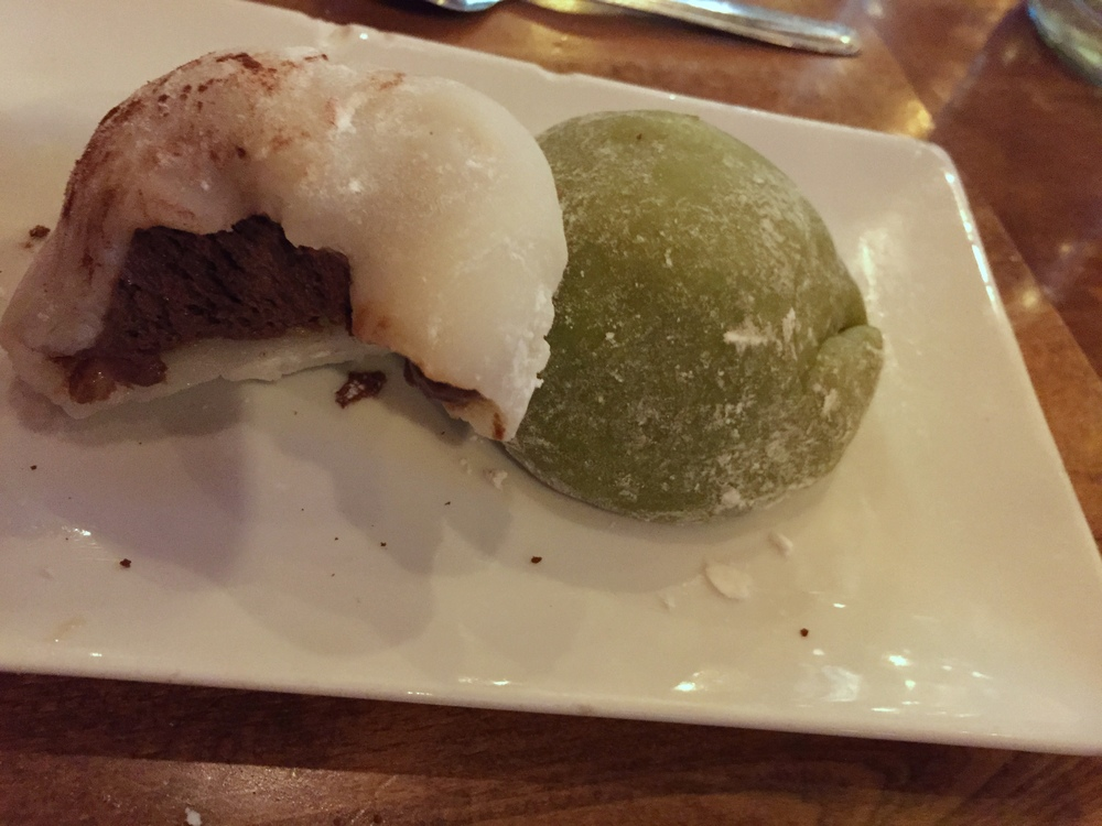 Chocolate and green tea mochi
