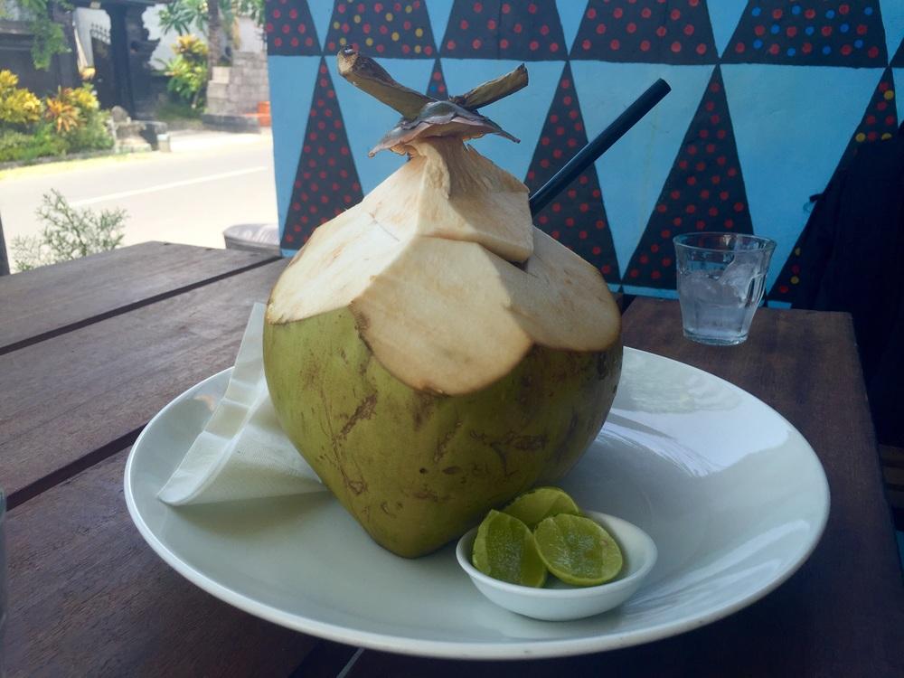 Fresh young coconut at Ruko Café