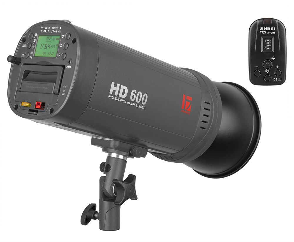 The HD-600 II and its trigger. The battery slides into the back of the flash and can be taken out by the handle. If you think 500 full power flashes won't help you through the day, separate batteries are available.