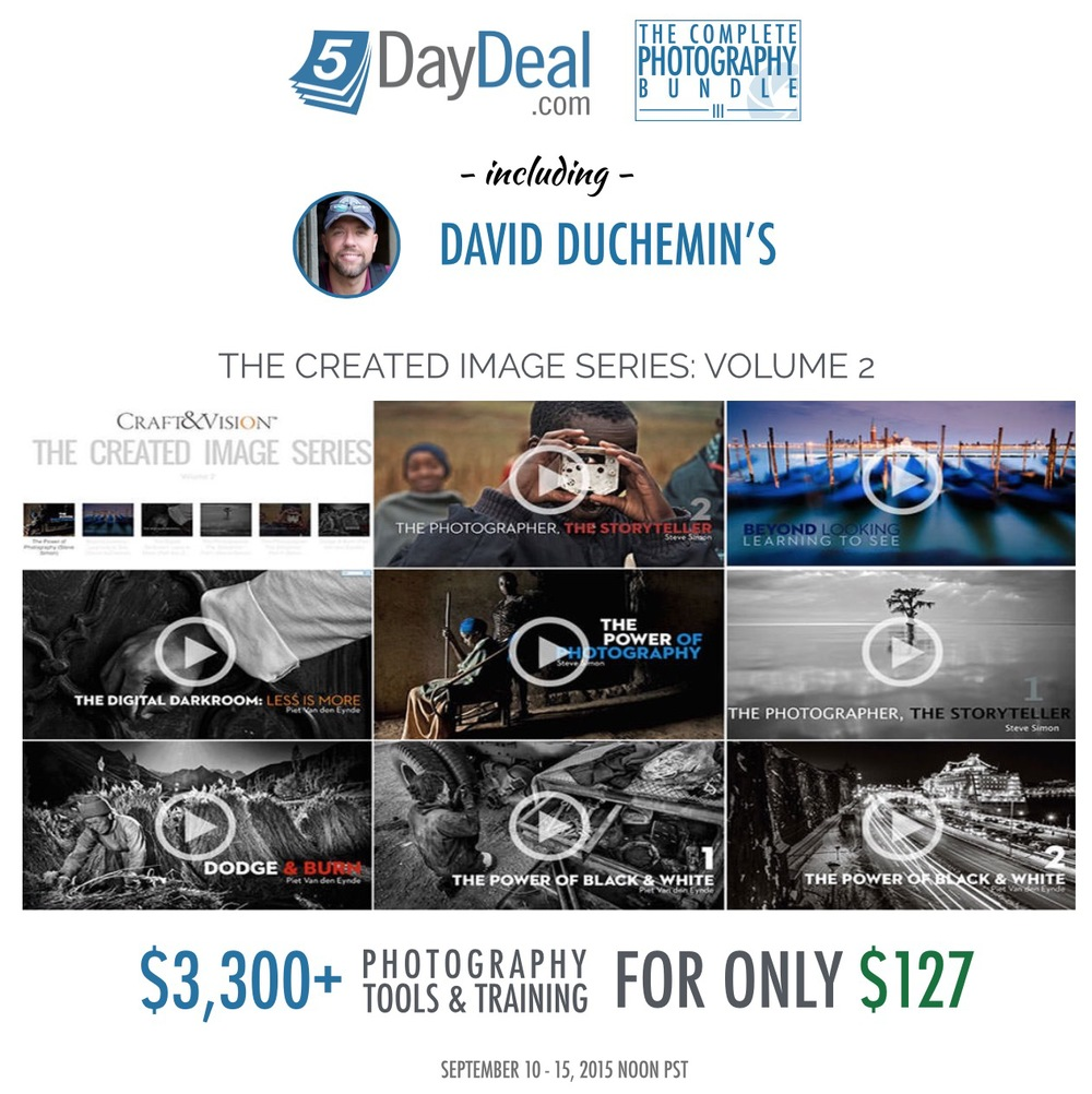 I am proud to be featured in The Created Image video series, which is just one of the over 40 training resources. I talk about speeding up your Lightroom workflow, Dodging and Burning and Black and White conversion. The entire 5 Day Deal bundle contains 70+ hours of video, 10+ eBooks and hundreds of Photoshop Actions and Lightroom presets.