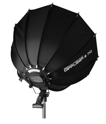 The SMDV Speedbox 70 is one of my favourite modifiers for use with small flashes. It has a nice quality of light and it sets up and folds down in seconds. I got mine from the friendly people at www.foto-morgen.de. It's a German website but they sprechen English too :-)