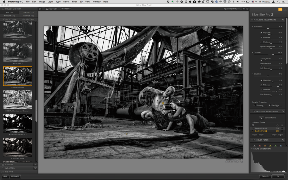 Silver Efex Pro in action.The unique feature about Nik that you find in all of the plug-ins is the fact that you can quickly and easily make local edits without having to create complex masks: the amazing, patented U-Point Technology does the job for you.