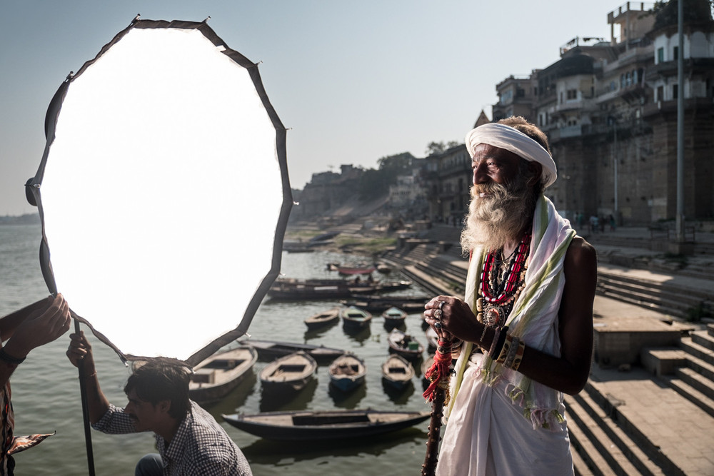 The 'short'-cross-lighting technique in action. The light falling on this sadhu's shoulder is the sun.