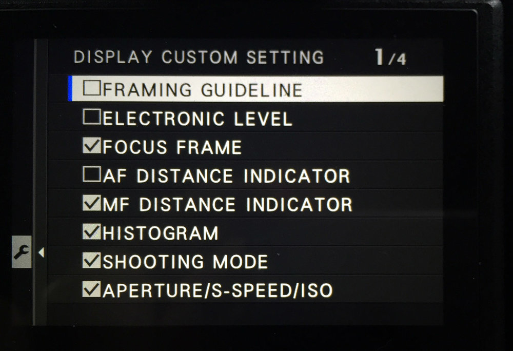 In the camera's settings, you can choose what info you want to be displayed on the EVF. You can do this separately for capture and playback. During playback, you can press the DISP/BACK button to cycle through a couple of other screens, including one without any overlays that lets you focus on the actual picture.