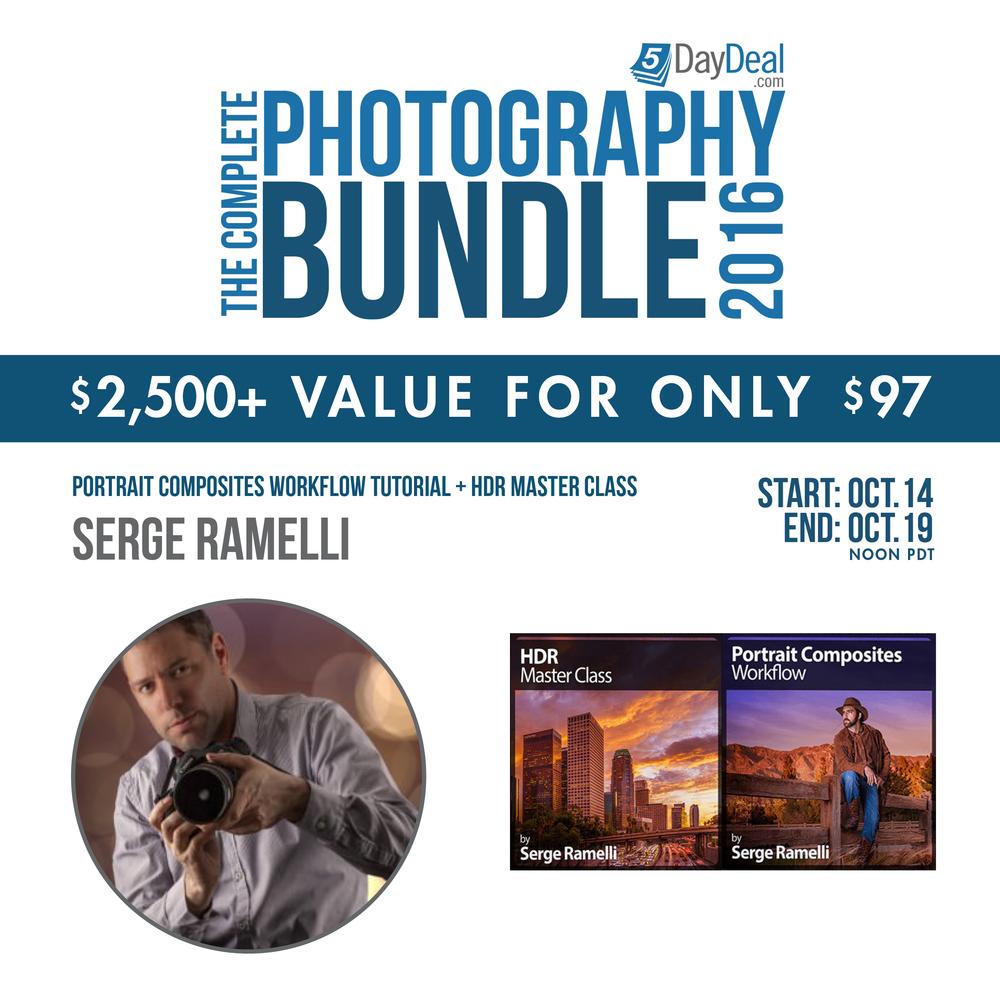 HDR Master Class en Portrait Composites, twee titels van Lightroom en Photoshop Guru Serge Ramelli,zitten ook in deze editie van de 5 Day Deal.