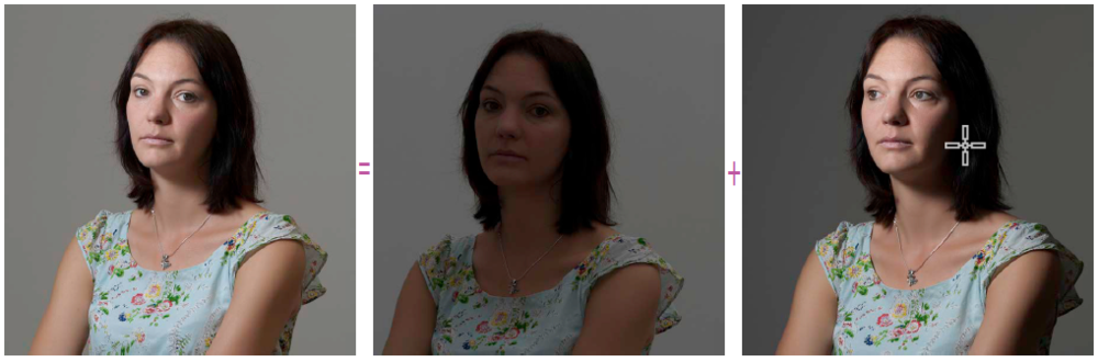 De totale beliching in deze foto (links) is de som van de hoeveelheid aanwezig licht die in de camera binnengelaten werd (links) en de hoeveelheid flitslicht die toegelaten werd (rechts).
