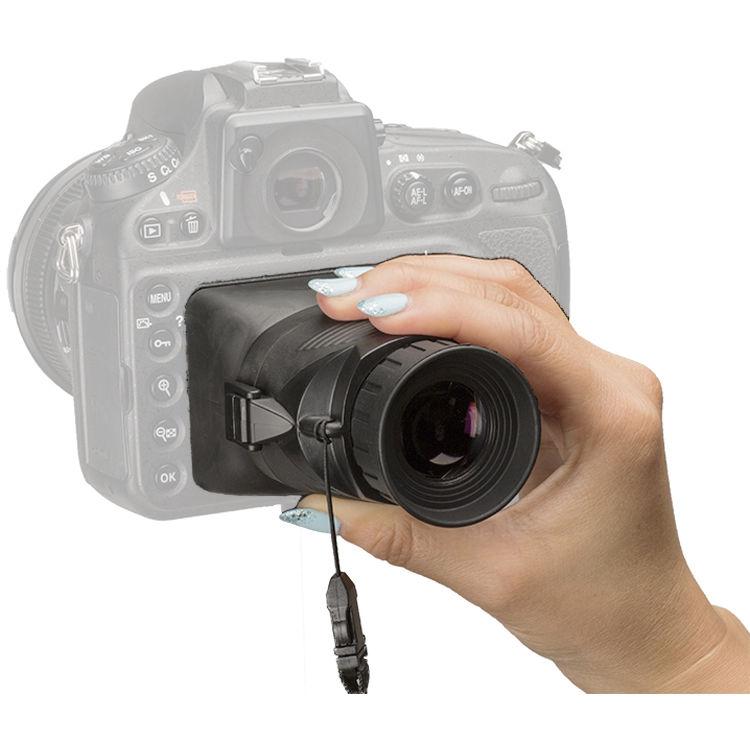 De Hoodman Hoodloupe schermt je LCD scherm af van de zon zodat je veel beter je pas gemaakte foto kan inspecteren op compositie en scherpte.