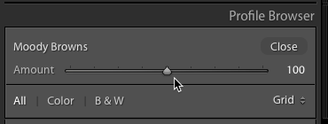 You can lower or strenghten the effect of a Creative Profile simply by dragging the Amount slider around...