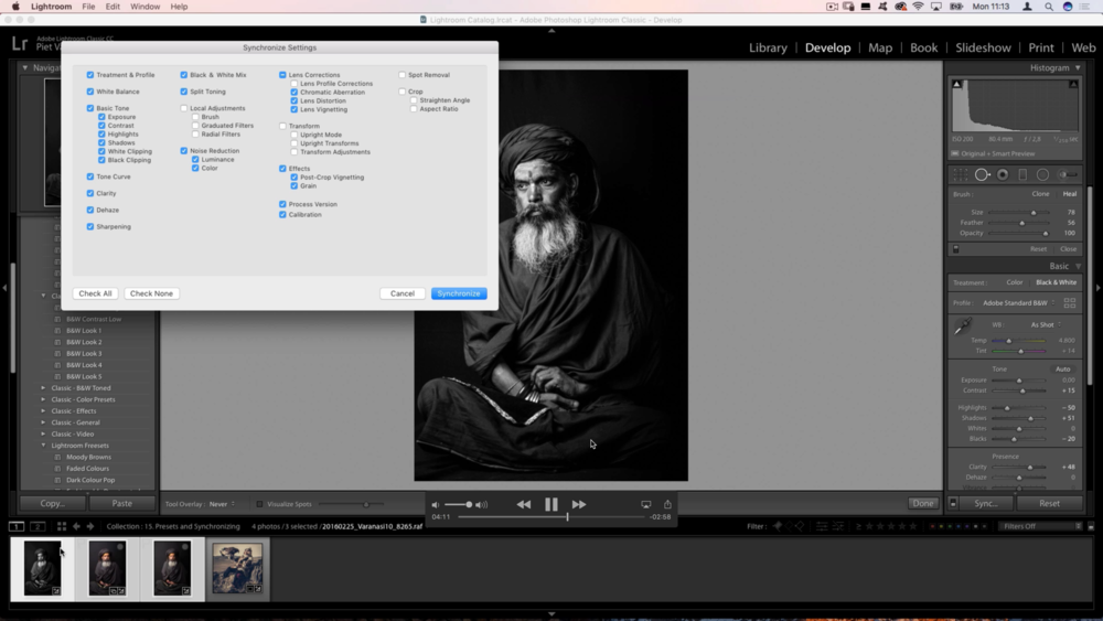 I explain how to speed up your workflow using presets and the Synchronize feature...