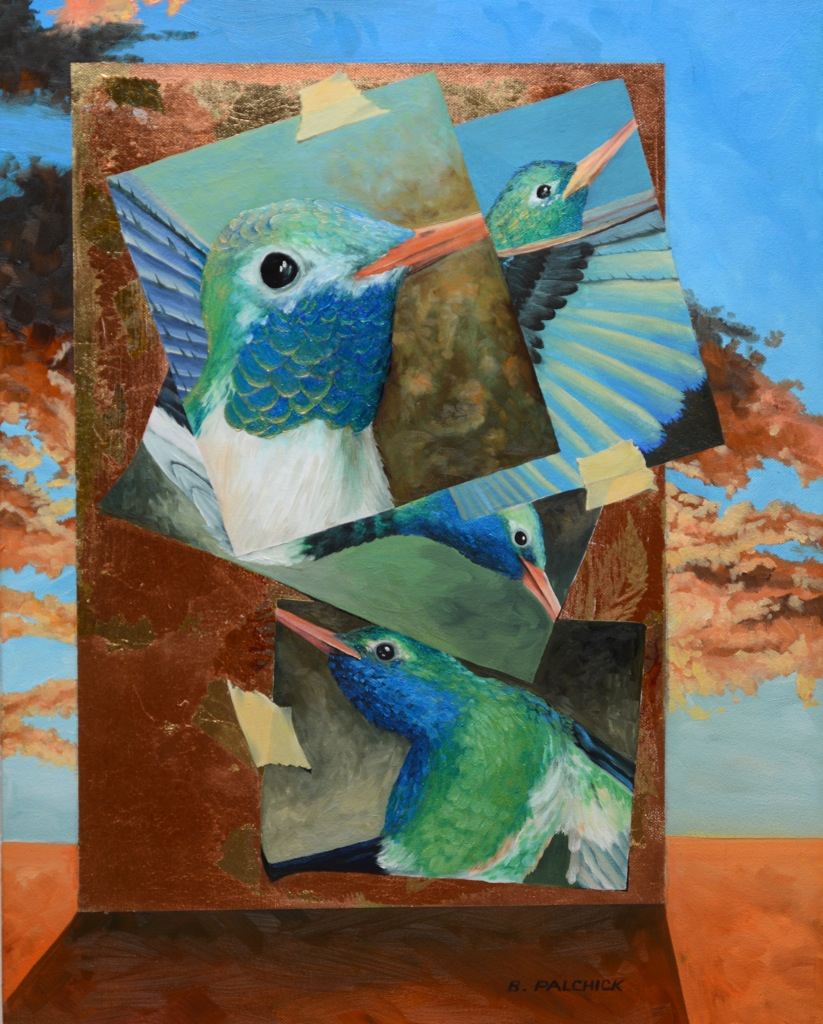 "Bird Notes  Oil and metal leaf on panel  Framed, 21"" x 17"""