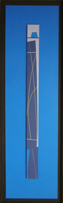 "Electric Blue  Acrylic on board  Framed, 51"" x 15"""
