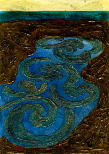 "Motif Pool 21  Mixed media on cardstock  7"" x 5"""
