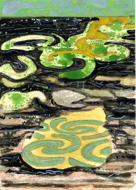 "Motif Pool 2  Mixed media on cardstock  7"" x 5"""