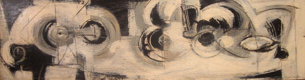 "Black and White #14  Enamel on panel  Framed, 11"" x 33"""