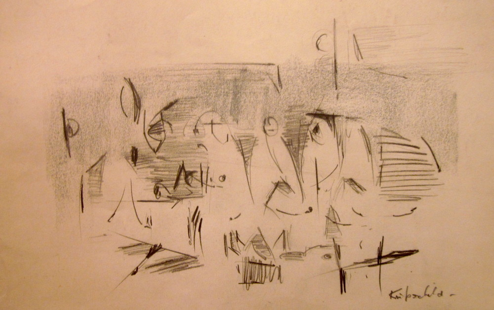 "New York, 1953  Graphite on paper  Framed, 12"" x 16"""
