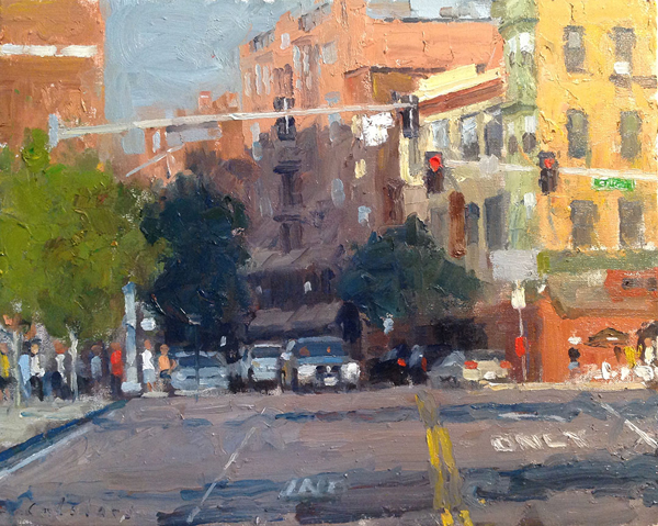 "Entering Hanover Street  Oil on panel  Framed, 16"" x 19"""