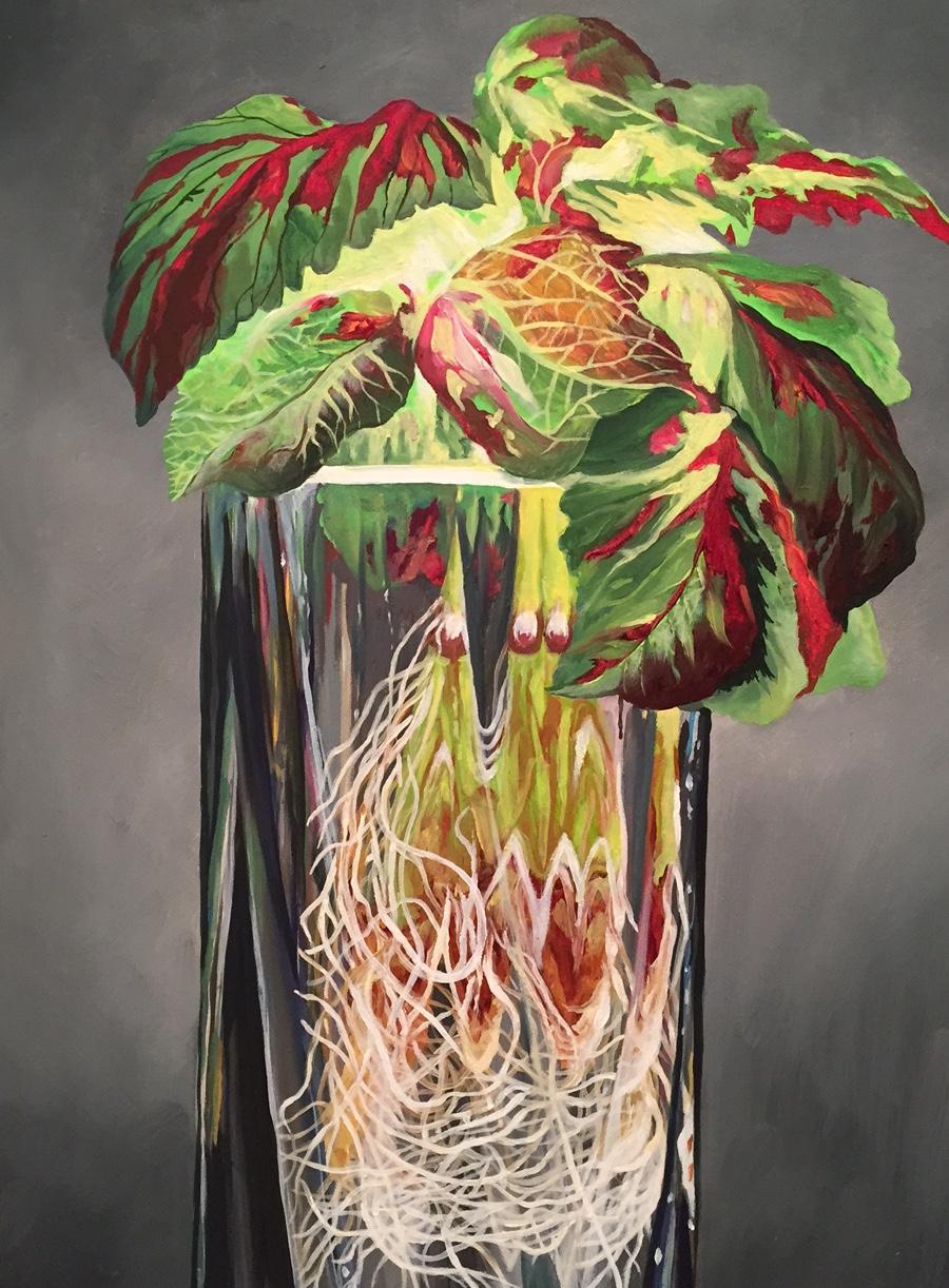 "Plant Meditation #4  Oil on panel  12"" x 9"""