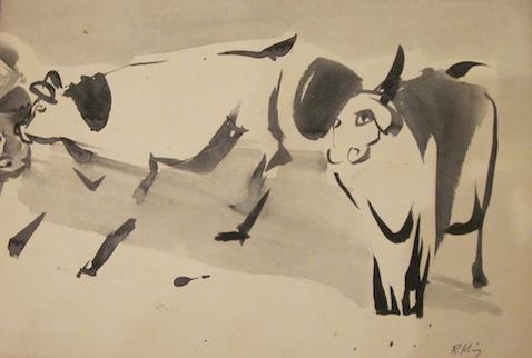 "Bulls  Ink on paper  12"" x 16"""