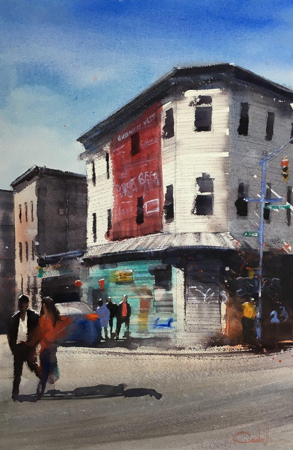 "Bushwick Corner  Watercolor on paper  21.5"" x 14"""